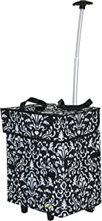 dbest products Bigger Smart Cart, Damask Collapsible Rolling Utility Cart Basket Grocery Shopping Teacher Hobby Craft Art