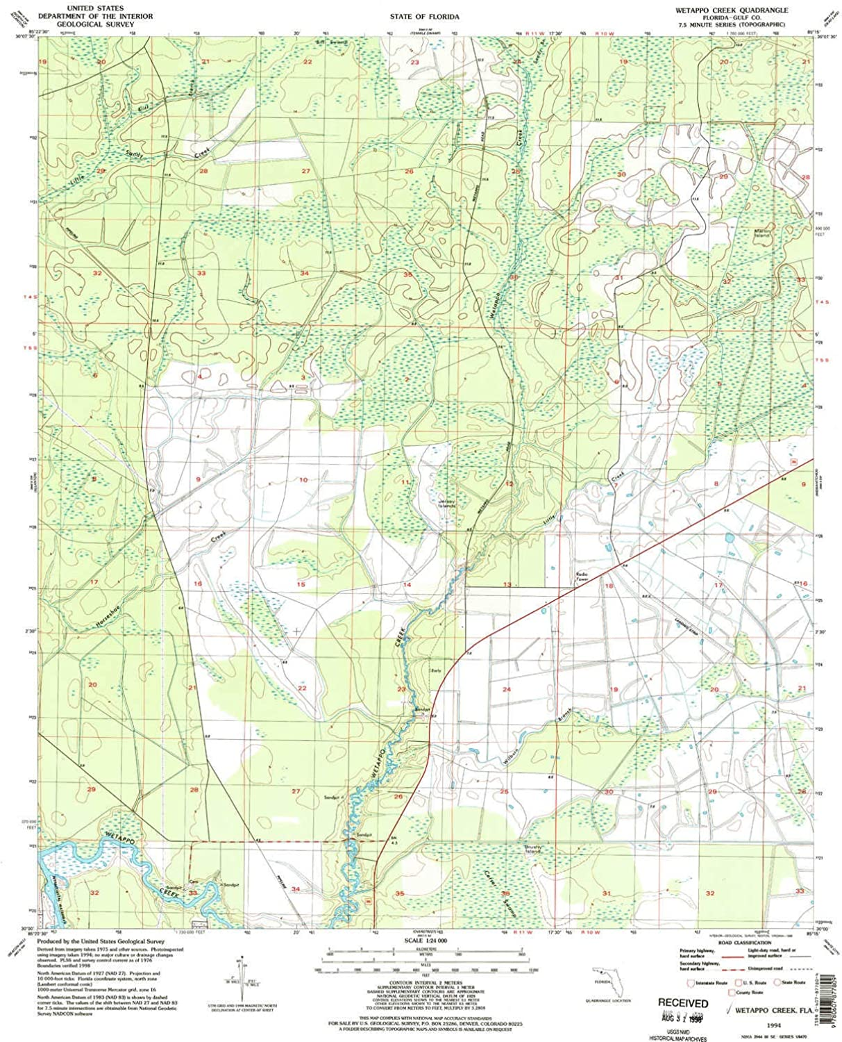 Wetappo Creek FL topo map, 1 24000 Scale, 7.5 X 7.5 Minute, Historical, 1994, Updated 1998, 26.7 x 21.9 in