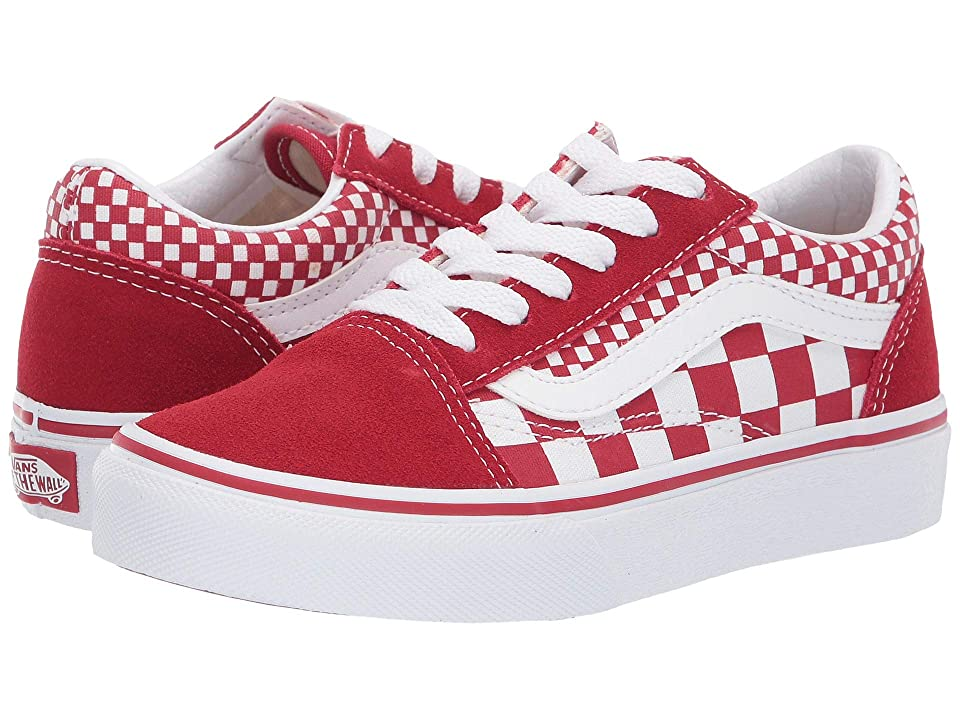 Vans Kids Old Skool (Little Kid/Big Kid) ((Mix Checker) Chili Pepper/True White) Kid