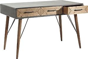 Kare Design Schreibtisch X Factory 3SK, kleiner, schmaler PC-/ Computertisch, Sekretär im Betondesign mit 3 Schubladen, Grau (H/B/T) 76x120x60cm
