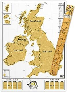 UK Scratch Map – England, Scotland, Ireland Scratch Off Map – Unique & Colorful Scratch Poster – Amazing Map Décor – Make...