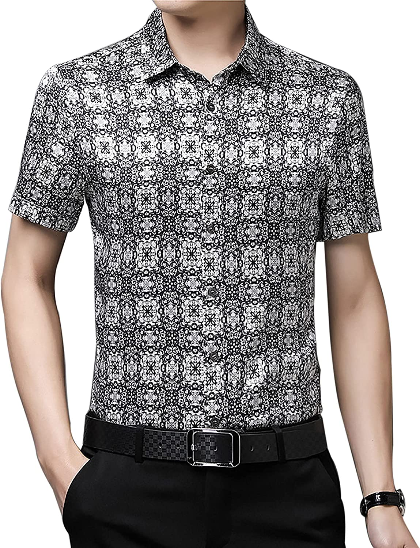 Silk shortsleeved men's of thin business fashion Slim Fit lapel 100% mulberry Silk Formal Button Up Shirts Satin print shirt