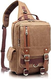 KAUKKO Canvas Chest Bag Schule Gym Radfahren Sling Taschen Umhängetasche Handtaschen Khaki