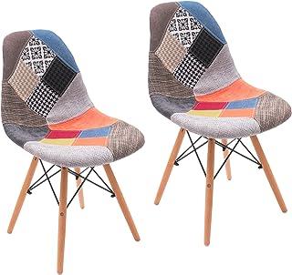 Silla de Comedor Cool tapizada en Tela Patchwork inspiración Silla Tower (Pack 2 UDS.)