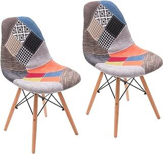Homely - Silla de Comedor Cool tapizada en Tela Patchwork inspiración Silla Tower - 2 Unidades