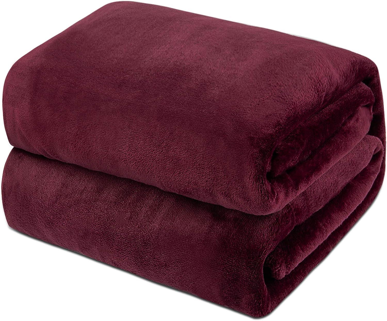 Mantas de Franela 150x200cm Súper Suaves Esponjosas para El Sofá Cama Colcha de Microfibra,tamaño Doble/Matrimonio, Rojo Vino