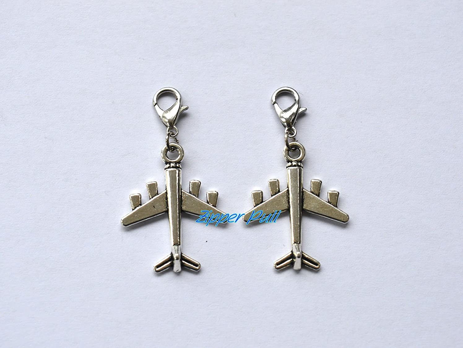 Own Charm ~ 22x28mm Antique silver 3D planes airplanes aircrafts Charms Pendants,Zipper Pull, Perfect for Necklaces, Bracelets , keychain and earrings