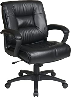 Office Star Deluxe Mid Back Executive Glove Soft Leather Chair with Padded Loop Arms, Black