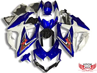 VITCIK (Fairing Kits Fit for Suzuki GSX-R750 GSX-R600 K8 2008 2009 2010 GSXR 600 750 Plastic ABS Injection Mold Complete Motorcycle Body Aftermarket Bodywork Frame (Blue & White) A089