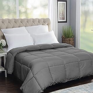 SUPERIOR Oversized All-Season Reversible Down Alternative Comforter, King, Silver