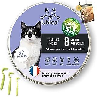 Ubica® (X2) Collier Anti Puces pour Chat Naturel Anti Tiques pour Chat – Répulsif – A Base d'Huiles Essentielles de Menthe...