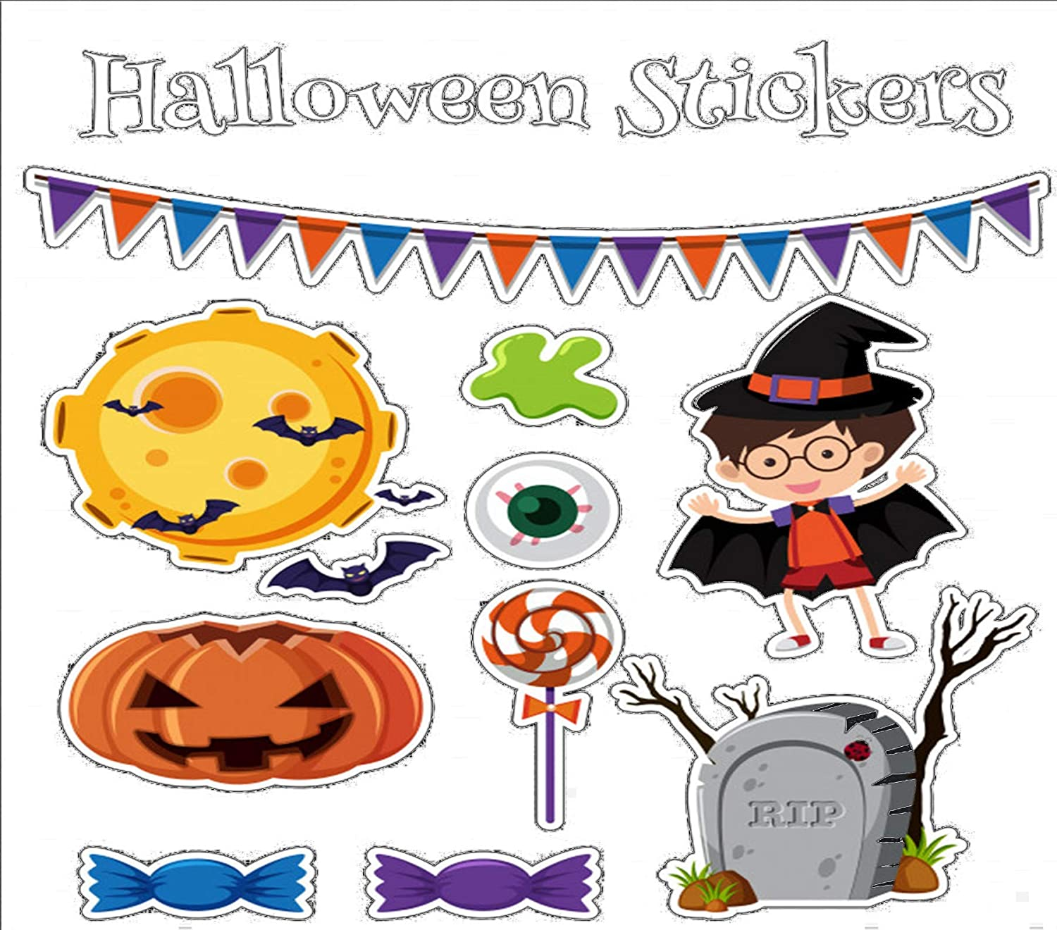 Halloween Stickers Window Removable Decorations low-pricing Cling NEW before selling ☆