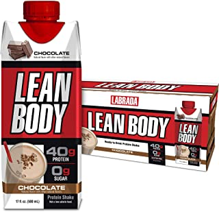 Lean Body Ready-to-Drink Chocolate Protein Shake, 40g Protein, Whey Blend, 0 Sugar, Gluten Free, 22 Vitamins & Minerals, (...
