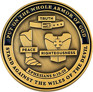 Armor of God Coin with All Armor Pieces, Bible Study Challenge Coin, Be Strong in The Lord, Pray & Persevere, Christian Re...