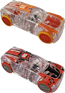 Marble Racers Light Up 1:43 Scale Quick Shot Pull-Back Motor Race Cars - Fire Chief & EMT