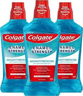 Colgate Enamel Strength Fluoride Mouthwash, Alcohol Free, Sparkling Fresh Mint - 1L, 33.8 fluid ounce (3 Pack)