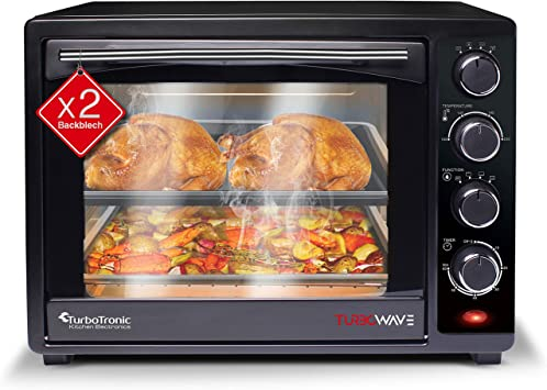TurboTronic Mini Oven with Double Glazed Electric Grill Pizza Oven with Timer Function