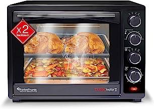 Turbotronic Mini four à chaleur tournante 35 l Noir 1600 W Mini four avec 2 plaques de cuisson, minuterie, four à pizza, g...