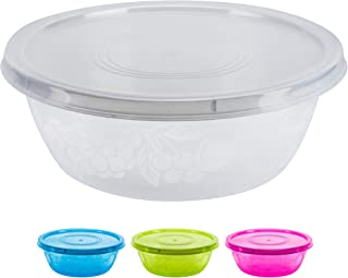 DecorRack Serving Bowl with Lid, Extra Large Pasta, Salad, Snack Bowl, Shatterproof, Durable -BPA Free- Plastic Mixing Bowl with Tight Lid, Beautiful, Vibrant Party Decor, Random Colors (1 Pack)