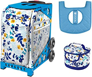 ZUCA Boho Floral Sport Bag with Blue Frame, Lunchbox and Seat Cushion