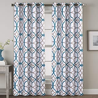 H.VERSAILTEX Bedroom Blackout Curtains Panels - All Season Thermal Insulated Teal and Taupe Geo Pattern Grommet Top Blackout Curtains/Drapes/Panels for Living, 2 Panels, W52 x L84 inch