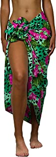 KAMEHAMEHA King Kameha Funky Hawaiian Cover-up Pareo Sarong, Leopard Flowers, Green, Big