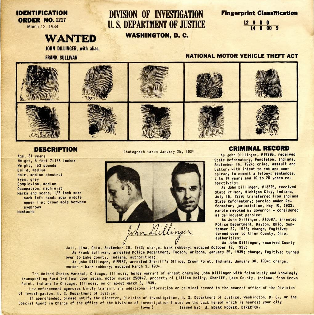Online Regular discount limited product John Dillinger Wanted Photo Gangsters Photos American Historical