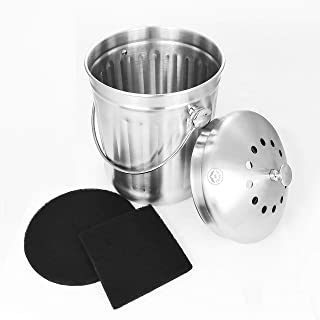 NewlineNY Stainless Steel Indoor Compost Bin for Kitchen Countertop, 1.3 Gallon Recycling Pail Bucket with 2 Charcoal Filters