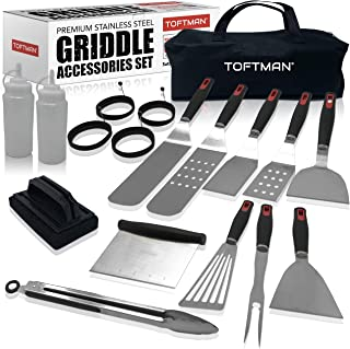 TOFTMAN Griddle Accessories Kit for Blackstone and Camp Chef - Flat Top Grilling Spatula and Stovetop Utensils Tool Set wi...