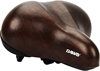 DAWAY Oversized Comfortable Bike Seat - C20 Soft Foam Padded Wide Leather Bicycle Saddle Cushion for Men Women Seniors, Fit Cruiser, Spin, Exercise Bikes & Outdoor Cycling, 1 Year Warranty