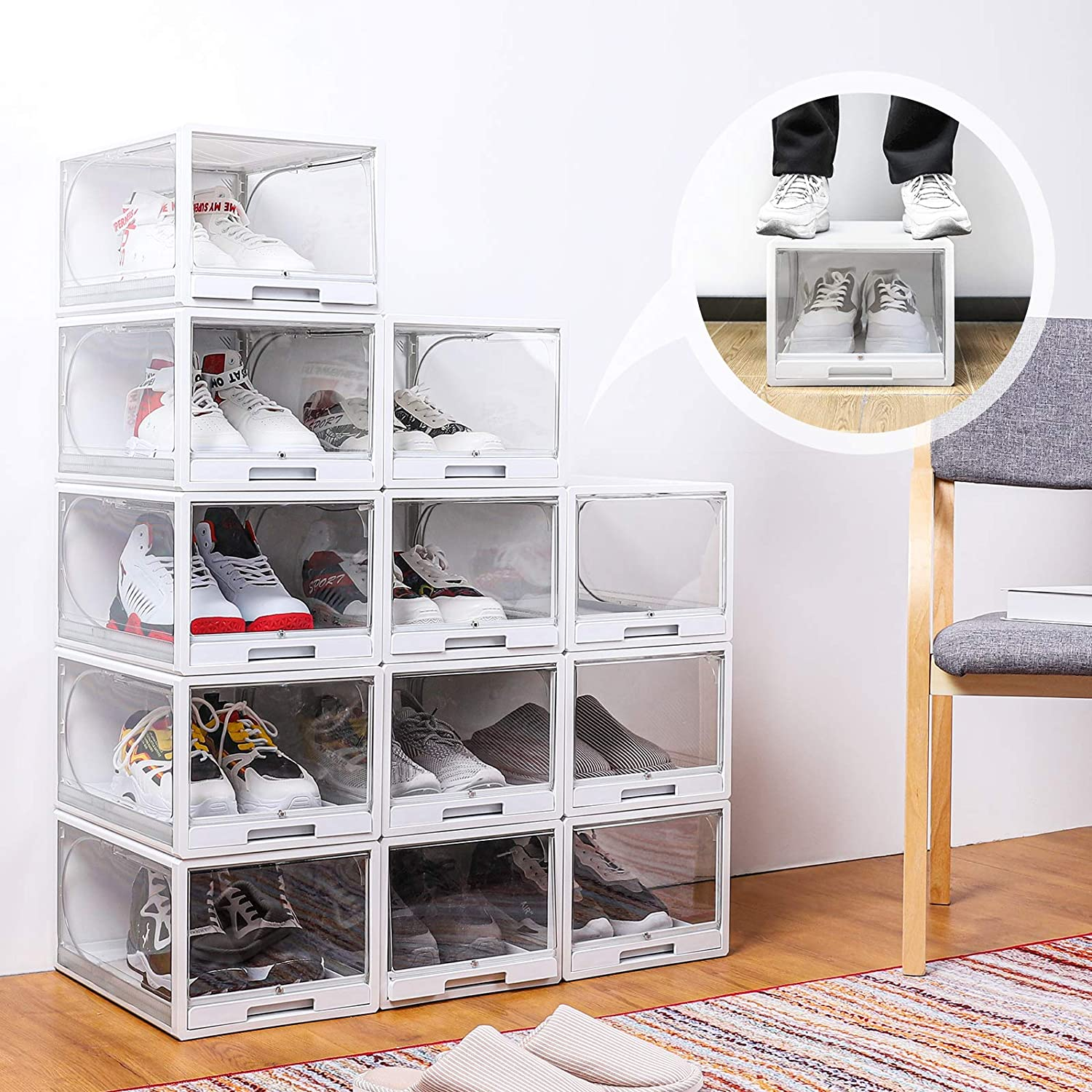 Homde Reinforced Shoe Organizer 20 Pack Drawer Type Shoe Box Clear Stackable  Shoe Storage for Men and Women Size Up to US 20 Easy to Open without ...