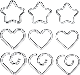 LOYALLOOK 9Pcs Helix Cartilage Earring Tragus Daith Piercing Surgical Steel Heart/Star Nose Ring 16/18/20 Gauge