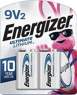 Energizer 9V Lithium Batteries, Ultimate Lithium 9 Volt Batteries (2 Battery Count)