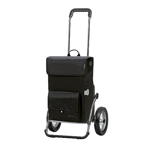 Andersen Chariot de courses Royal avec sacoche Asta noire, volume 45L, poche isotherme, cadre en acier et roues à rayons métalliques