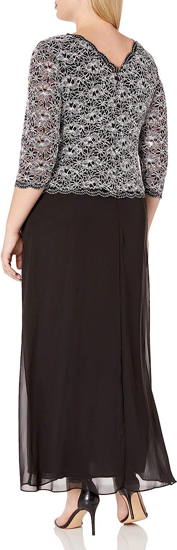 Alex Evenings Plus Size Women's Long Evening Gown with Sequin Lace Bodice