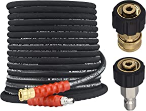 M MINGLE Pressure Washer Hose 50 Feet X 3/8 Inch, High Tensile Wire Braided, with 2 Quick Connect Kits, Compatible M22 14m...