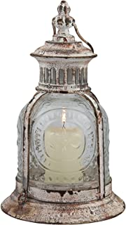 Stonebriar Antique White Metal Candle Lantern, Decoration for Birthday Parties, a Rustic..