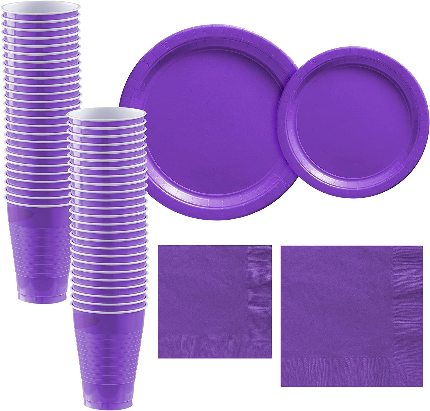 Party City Purple Paper Tableware Guests 期間限定送料無料 50 Supplies for お気に入