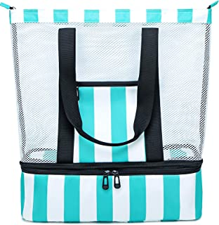 BLUBOON Mesh Beach Tote Bag with Cooler Compartment, Insulated Detachable Picnic Bag with Zipper and Pocket, Pool Bag Travel Shoulder Bag (Turquoise)