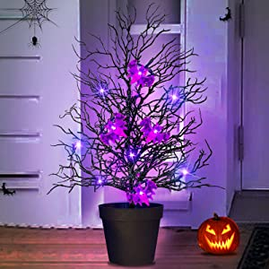 TURNMEON 20''Pre-lit Halloween Potted Tree Decor for Entrance with 10 Purple Lights and 4 Bats Battery Operated Glittered Black Spooky Tree Halloween Decorations for Porch Outdoor Indoor Home