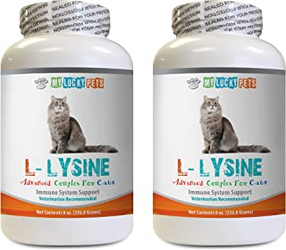 MY LUCKY PETS LLC cat Healthy Skin and Fur - CAT L-LYSINE Powder - Immune System Booster - Eye Health - Vet Recommended - Natural - Immune System Booster for Cats - 2 Bottles (16 OZ)