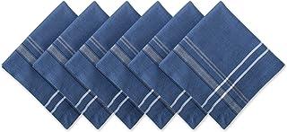 DII 100% Cotton, Oversized Basic Everyday 20x20 Napkin Set of 6, Blue Chambray French Stripe