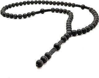 Collar de piedras semipreciosas LAVA 10mm Ónix 12mm cuentas cadena Y rosario Shamballa biker hecho a mano/ALLA
