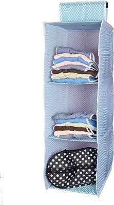 Home Store India Hanging Storage Wardrobe/Closet Storage Organizer 3 Layer,Non-Woven Fabric, Paper Board,30 X 30 X 80 cms,Blue (Multy Colour)