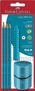 Faber-Castell 580072 Grip 2001 - Juego de bolígrafo, sacapuntas y goma de borrar, color turquesa