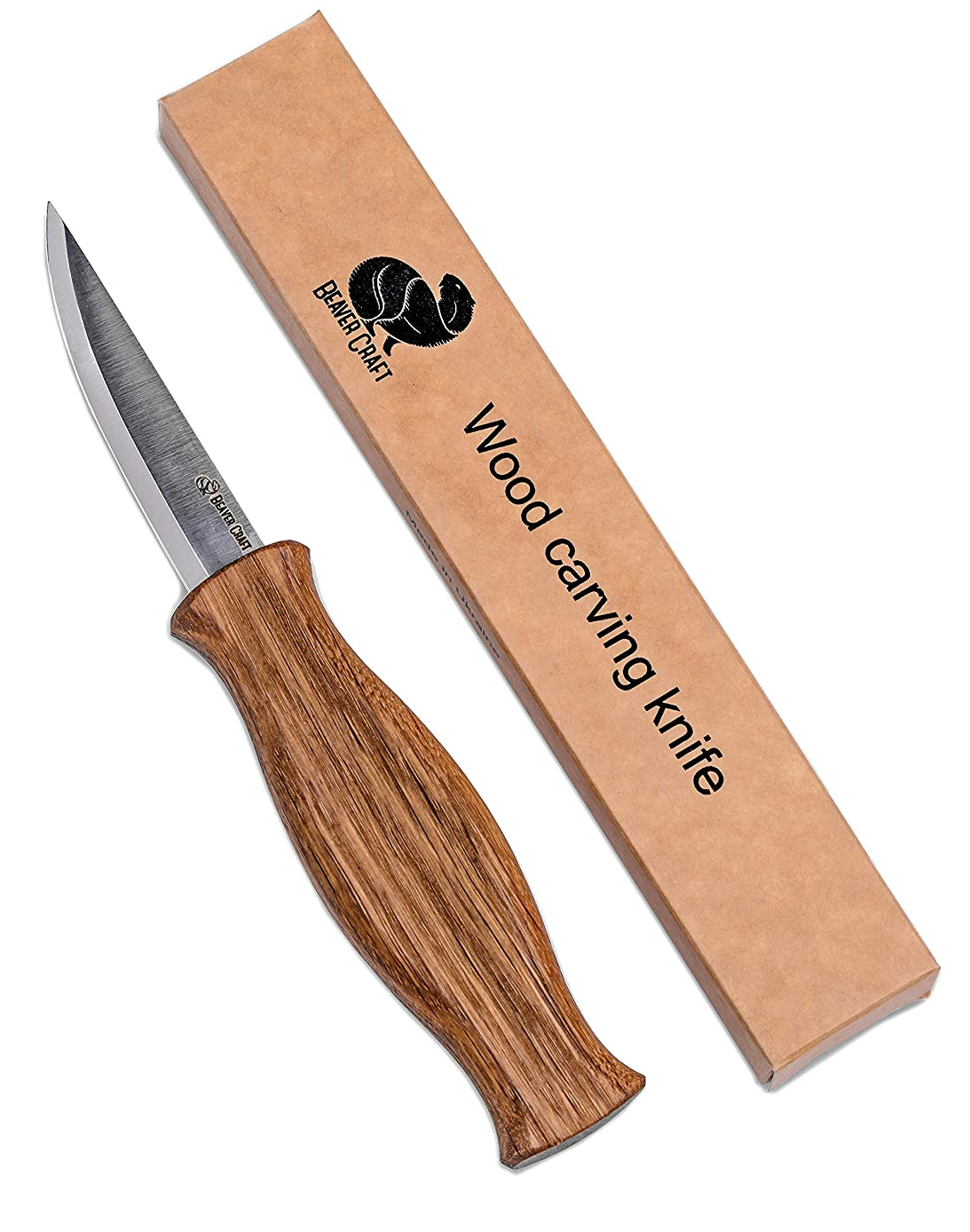 BeaverCraft Wood Carving Sloyd Knife - Hobby Craft for Adults And Children -Whittling Wood Carving Tools For Beginners - Roughing And Fine Carving Knife - High Carbon Steel Knife Wood Handle