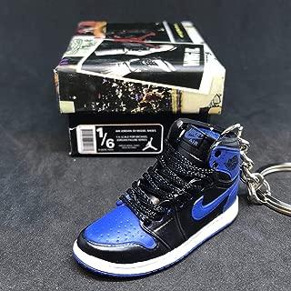Air jordan I 1 Retro High OG Royal Blue Black Sneakers Shoes 3D Keychain 1:6 Figure + Shoe Box