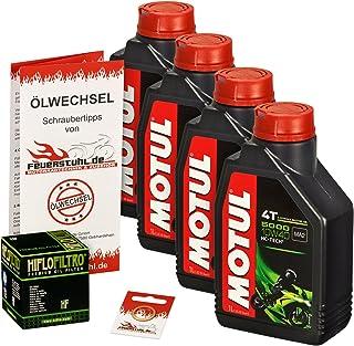 Motul 10W 40 Öl + HiFlo Ölfilter für Suzuki GSF 1200 Bandit/S, 96 06, GV75A A9 CB   Ölwechselset inkl. Motoröl, Filter, Dichtring