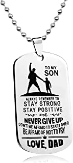 LITTONE Love Gift Necklace to My Son Dog Tag Never Give Up Love Dad Military Chains Pendants LNH9654#