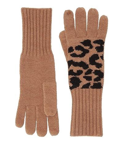 J.Crew Supersoft Leopard Gloves (Acorn Black) Dress Gloves